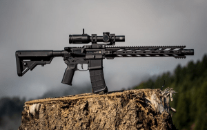 An example of an M-LOK free float handguard. Notice how the handguard floats around the barrel and only contacts the rifle at one point (on the barrel nut by the upper). This 15 in (381 mm) HWK M-LOK handguard is made by STNGR USA and uses the M-LOK mounting system.