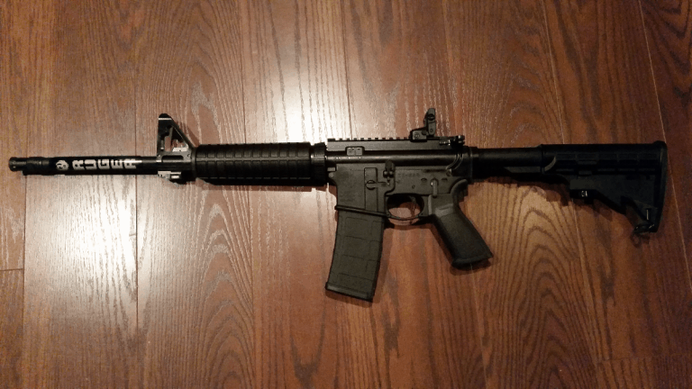 Ruger AR-556 on table
